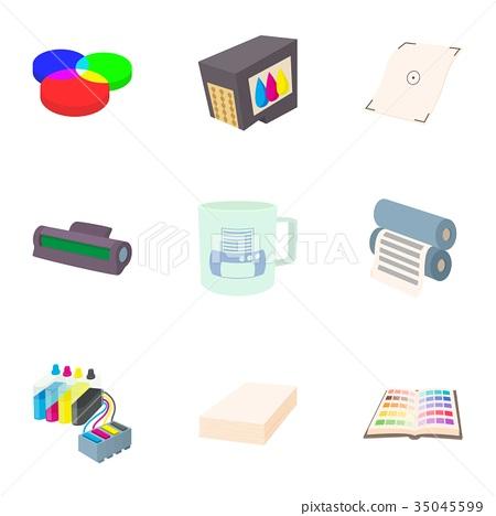 Printer icons set, cartoon style 35045599