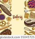 bread and pastry donut long loaf and fruit pie 35045725