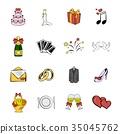 wedding, set, icon 35045762