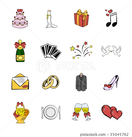 Wedding icons set cartoon 35045762