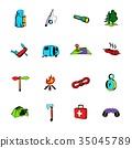 camping, icon, set 35045789
