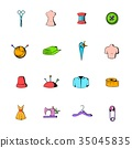 Tailor elements icons set cartoon 35045835
