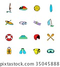 Water Sport icons set cartoon 35045888