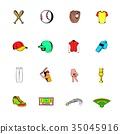 Baseball icons set cartoon 35045916