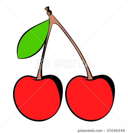 A couple of red cherries icon, icon cartoon - Stock Illustration ...