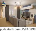 3d illustration living room interior design 35046899