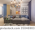 3d illustration living room and kitchen interior 35046903