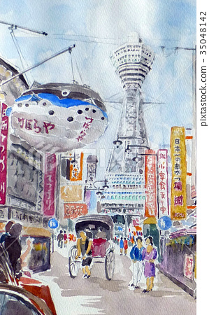 Tsutenkaku sketch Osaka tourism watercolor painting 35048142