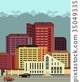 background city streets in flat style 35049335