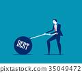 Businessman dragging a weight debt on chain.  35049472