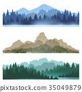 Foggy mountains landscape set 35049879