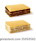 Waffle cookies with cream filling realistic vector 35050562