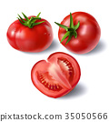 Set of realistic full and sliced tomatoes vectors 35050566