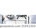 Top view of stationery isolate on white background 35052303