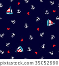 Seamless pattern with anchors and sailboat. 35052990