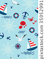 Seamless pattern with anchors and sailboat. 35052991
