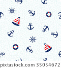 Marine seamless pattern with anchor and sailboat 35054672