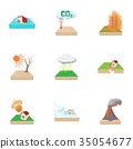 Natural disasters icons set, cartoon style 35054677