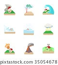 Disaster icons set, cartoon style 35054678