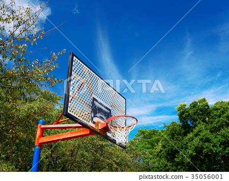 Autumn sky and basketball goal 35056001