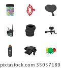 Paintball icons set, cartoon style 35057189