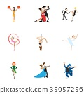 Types of dances icons set, cartoon style 35057256
