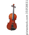 Violin front view isolated 35058631