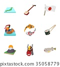 Country Japan icons set, cartoon style 35058779