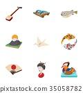 Japan icons set, cartoon style 35058782
