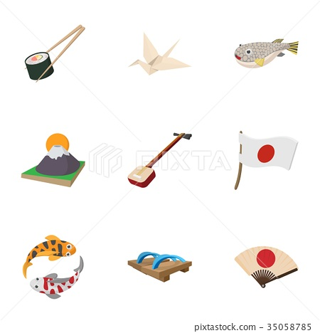 Holiday in Japan icons set, cartoon style 35058785