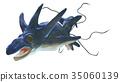 바다의 괴물 돌고래 흉내 옆에서 흰색 백 소재 35060139
