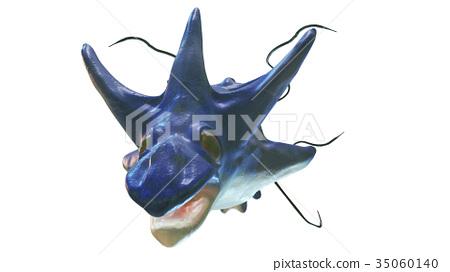 바다의 괴물 돌고래 흉내 정면에서 흰색 백 소재 35060140