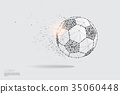 The particles line and dot of ball moving. 35060448