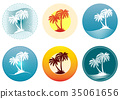 Icons with Palms Silhouettes 35061656