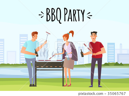 People on picnic or Bbq party. Man and woman 35065767