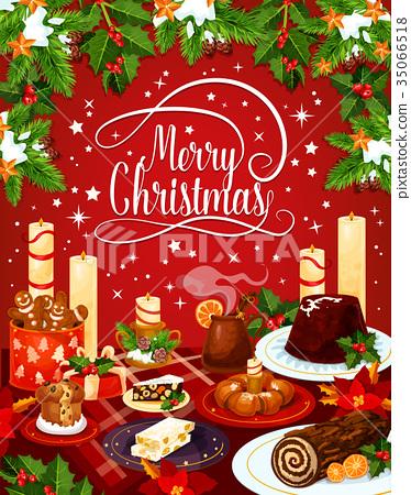 Merry Christmas vector eve dinner