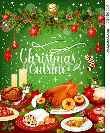 Christmas dinner cuisine vector greeting card 35066614