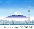도쿄 스카이 트리와 후지산 35068541