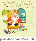 Santa Claus sitting in armchair and reading letter 35070783