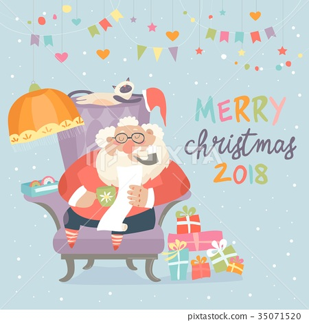 Santa Claus sitting in armchair and reading letter 35071520