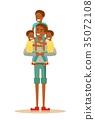 family, vector, child 35072108