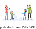 Happy family throwing snowballs - cartoon people 35072491