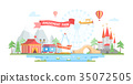 City with amusement park - modern flat design 35072505