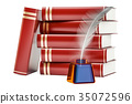 Stack of books with feather and ink bottle 35072596