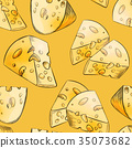Cheese slices seamless pattern in cartoon style 35073682