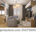 3d illustration living room and kitchen interior 35075600