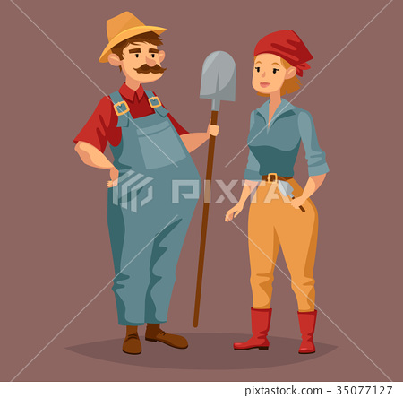 Cartoon gardener man and agriculture worker, woman 35077127