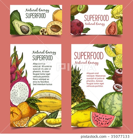Exotic and tropical fruits on banner or poster 35077133