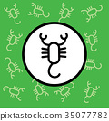 Scorpion icon sign and symbol on green background 35077782