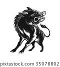 Angry Wild Hog Razorback Scratchboard 35078802